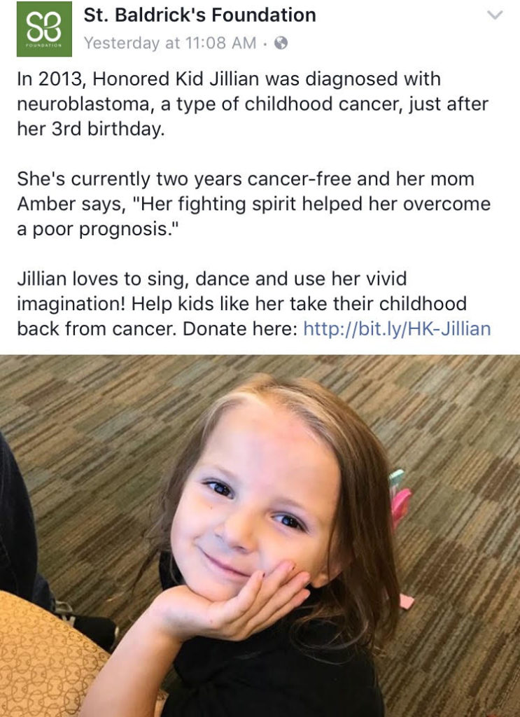 St Baldricks Honored Kid Jillian